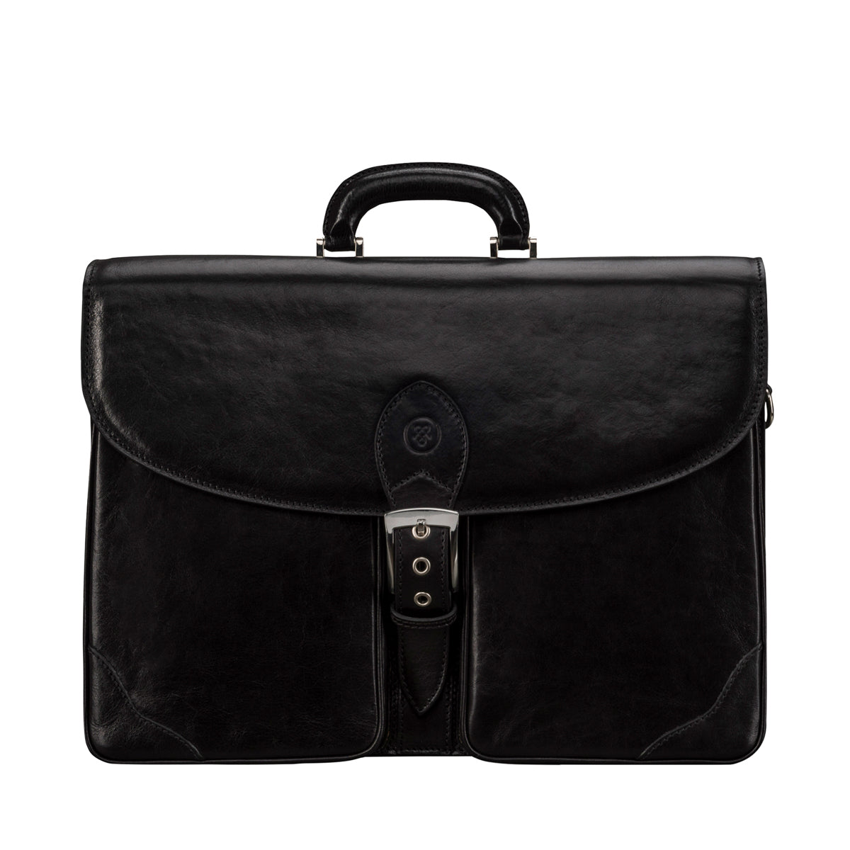 Image 1 of the 'Tomacelli' Handmade Black Veg-Tanned Briefcase
