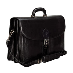 Image 2 of the 'Tomacelli' Handmade Black Veg-Tanned Briefcase