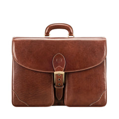 Image 1 of the 'Tomacelli' Handmade Triple Sectioned Chestnut Veg-Tanned Briefcase