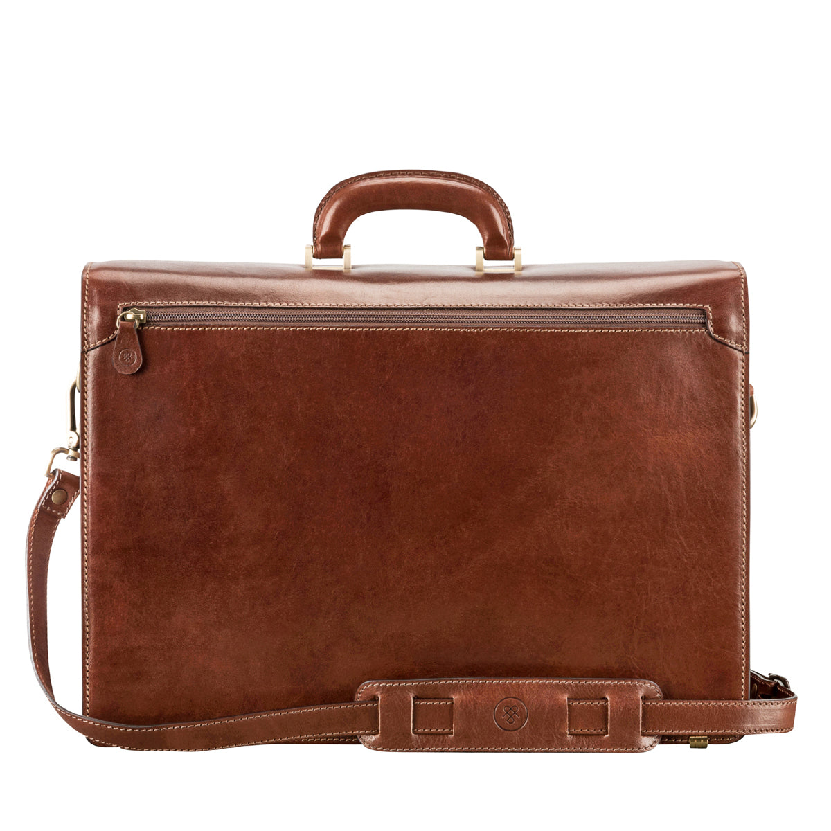 Image 4 of the 'Tomacelli' Handmade Triple Sectioned Chestnut Veg-Tanned Briefcase