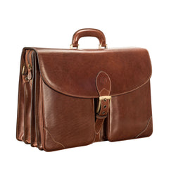 Image 2 of the 'Tomacelli' Handmade Triple Sectioned Chestnut Veg-Tanned Briefcase