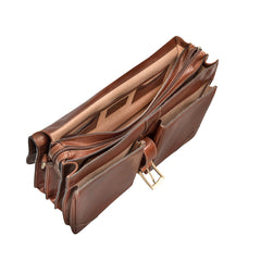 Image 5 of the 'Tomacelli' Handmade Triple Sectioned Chestnut Veg-Tanned Briefcase