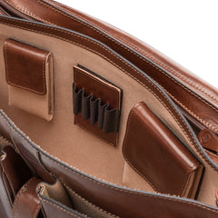 Image 6 of the 'Tomacelli' Handmade Triple Sectioned Chestnut Veg-Tanned Briefcase