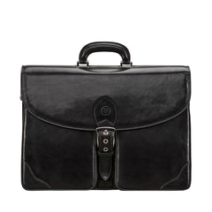 Image 1 of the 'Tomacelli' Handmade Triple Sectioned Black Veg-Tanned Briefcase