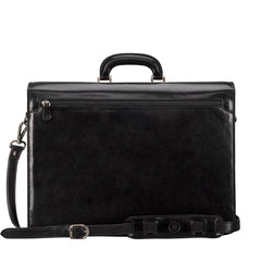 Image 3 of the 'Tomacelli' Handmade Triple Sectioned Black Veg-Tanned Briefcase