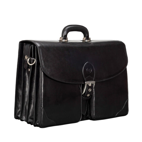 Image 2 of the 'Tomacelli' Handmade Triple Sectioned Black Veg-Tanned Briefcase