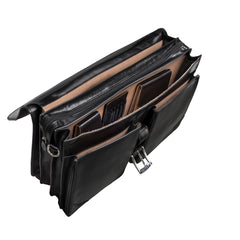 Image 4 of the 'Tomacelli' Handmade Triple Sectioned Black Veg-Tanned Briefcase
