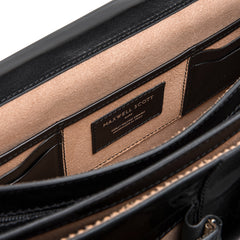 Image 5 of the 'Tomacelli' Handmade Triple Sectioned Black Veg-Tanned Briefcase
