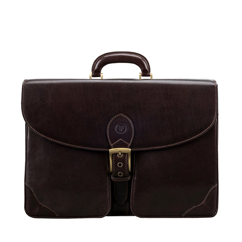 Image 1 of the 'Tomacelli' Handmade Triple Sectioned Chocolate Veg-Tanned Briefcase