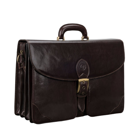 Image 2 of the 'Tomacelli' Handmade Triple Sectioned Chocolate Veg-Tanned Briefcase