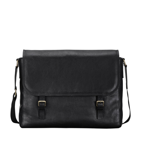 Image 1 of the 'Ravenna' Black Leather Men's Satchel Bag