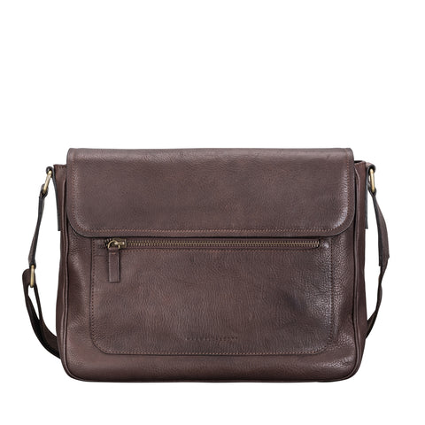 Image 1 of the 'Livorno' Brown Leather Men's Satchel Work Bag