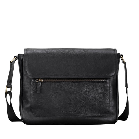 Image 1 of the 'Livorno' Black Leather Satchel Bag