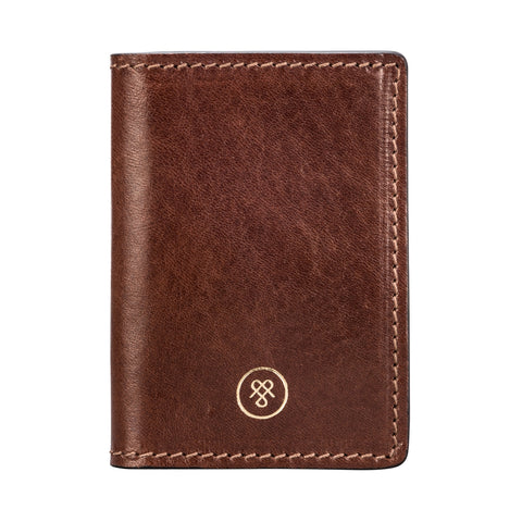 Image 1 of the 'Vallata' Chestnut Veg-Tanned Leather Oyster Card Holder