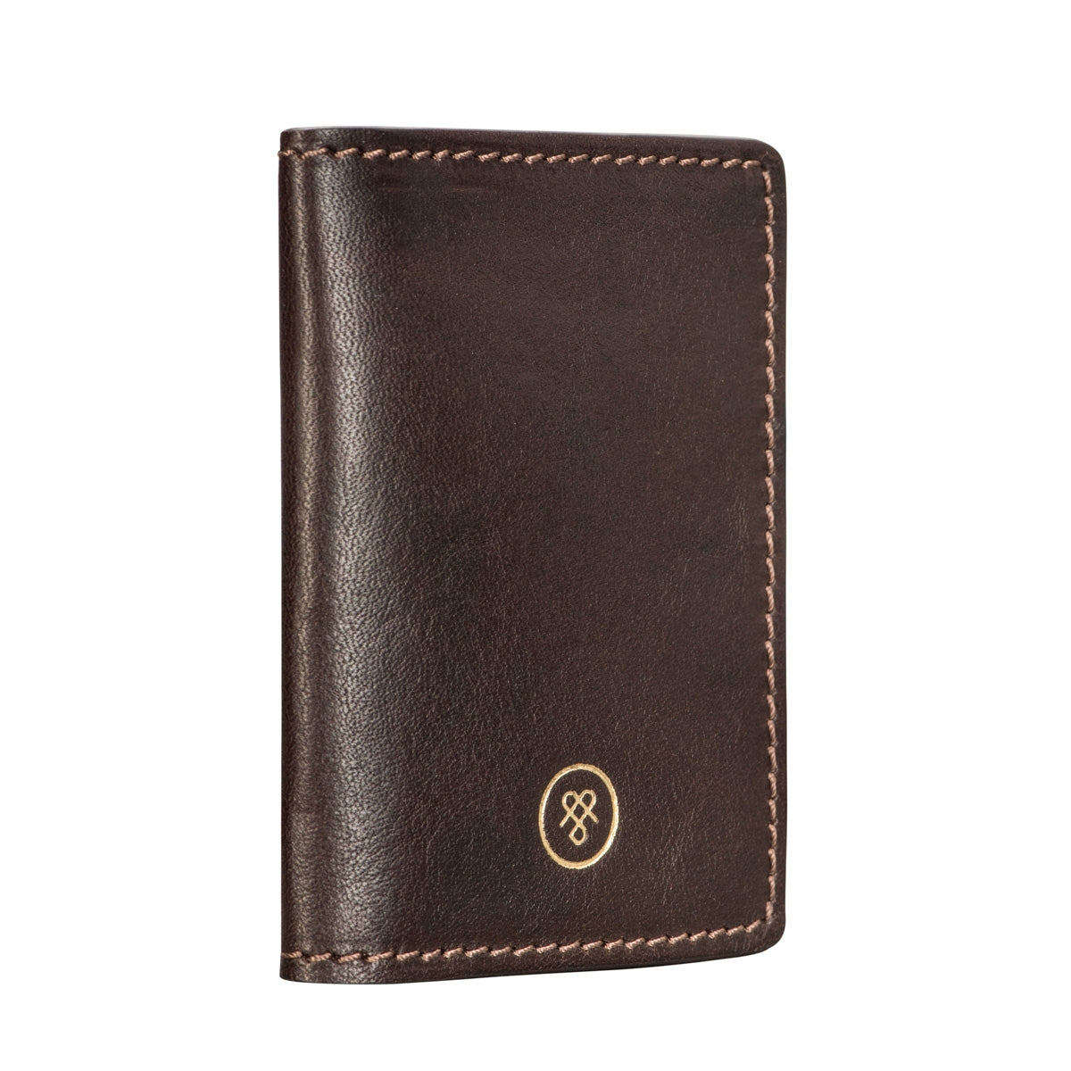 Image 4 of the 'Vallata' Brown Veg-Tanned Leather Oyster Card Holder