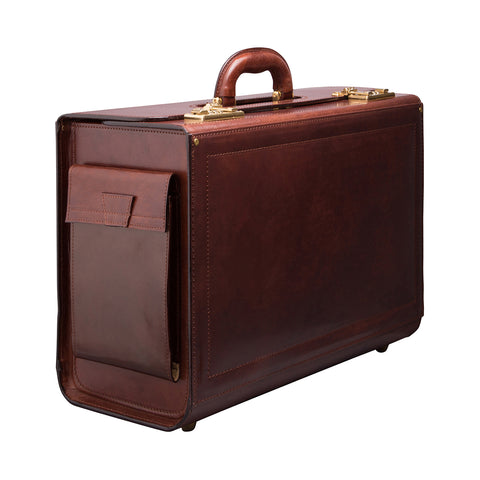 Image 2 of the 'Varese' Chocolate Veg-Tanned Briefcase