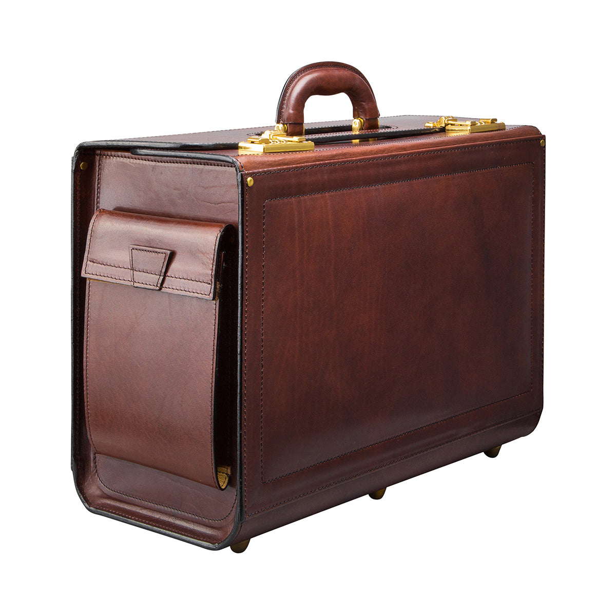 Image 2 of the 'Varese' Chestnut Veg-Tanned Briefcase