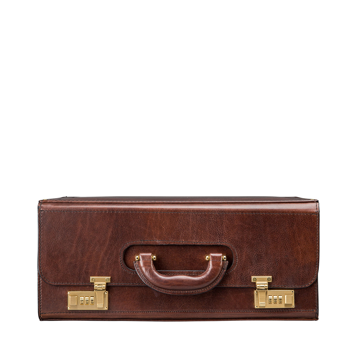 Image 3 of the 'Varese' Chocolate Veg-Tanned Briefcase