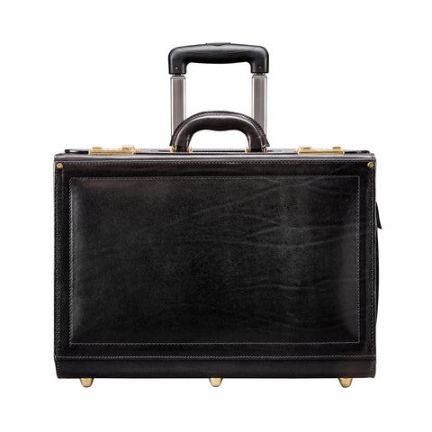 Image 1 of the 'Varese' Black Veg Tanned Wheeled Briefcase