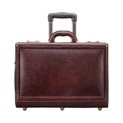 Image 1 of the 'Varese' Dark Chocolate Veg-Tanned Wheeled Briefcase