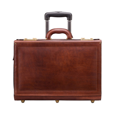 Image 1 of the 'Varese' Chestnut Veg-Tanned Wheeled Briefcase