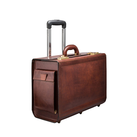 Image 2 of the 'Varese' Chestnut Veg-Tanned Wheeled Briefcase
