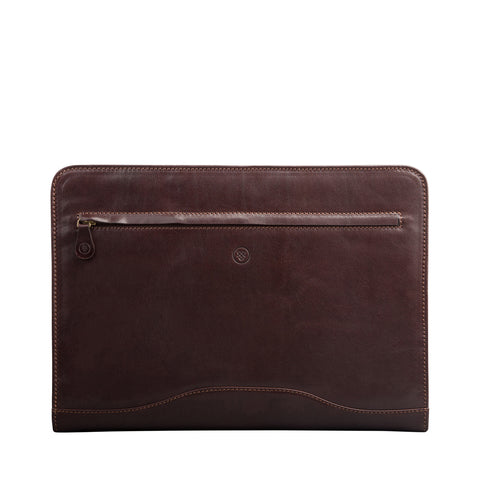 Image 1 of the 'Veroli' Dark Chocolate Veg-Tanned Leather Zipped Ring Binder