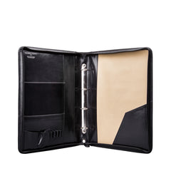 Image 4 of the 'Veroli' Black Leather Zipped Ring Binder