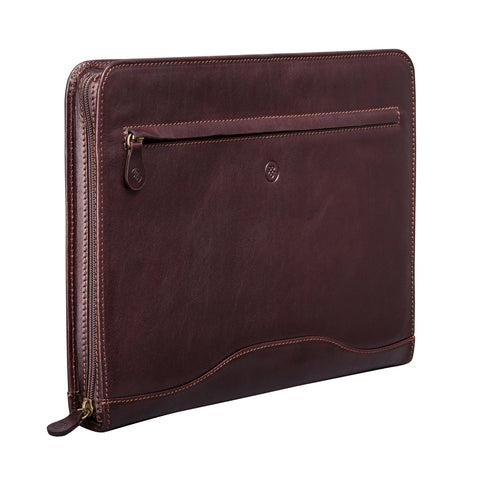 Image 2 of the 'Veroli' Dark Chocolate Veg-Tanned Leather Zipped Ring Binder