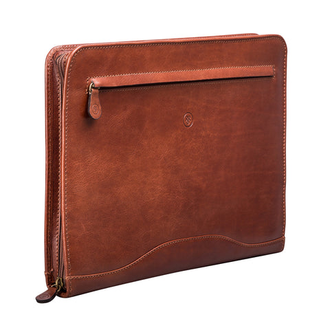 Image 2 of the 'Veroli' Chestnut Veg-Tanned Leather Zipped Ring Binder