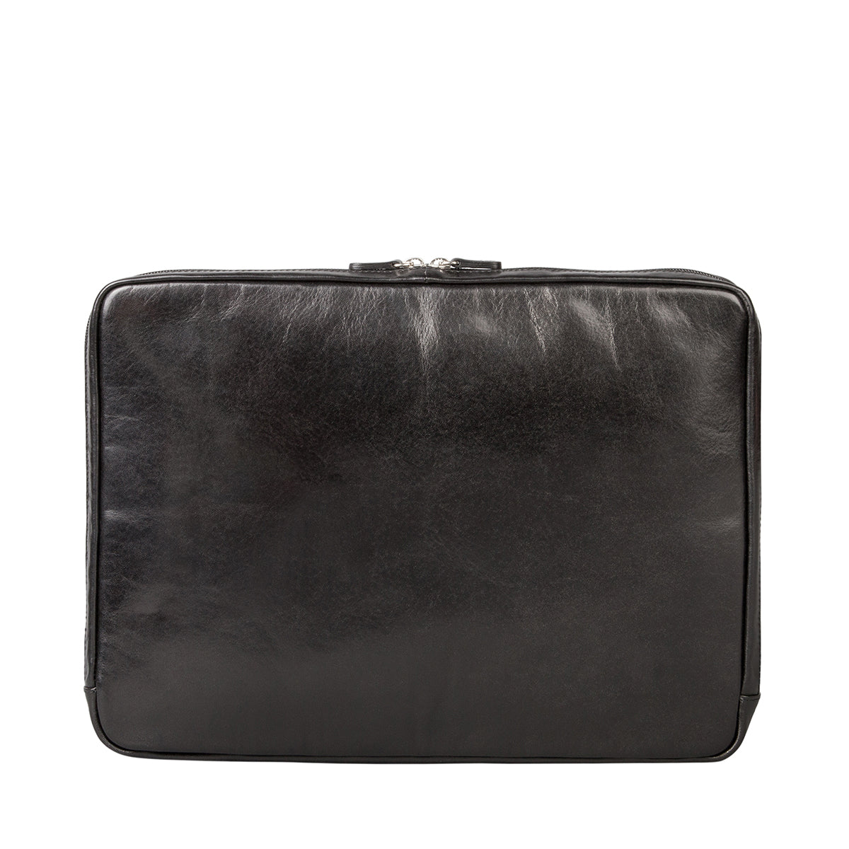 "Image 3 of the 'Verzino' Black Veg Tanned 15"" Leather Laptop Case"