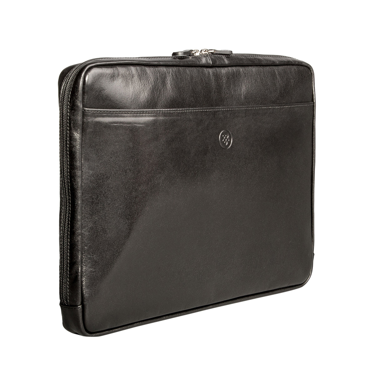 "Image 2 of the 'Verzino' Black Veg Tanned 15"" Leather Laptop Case"