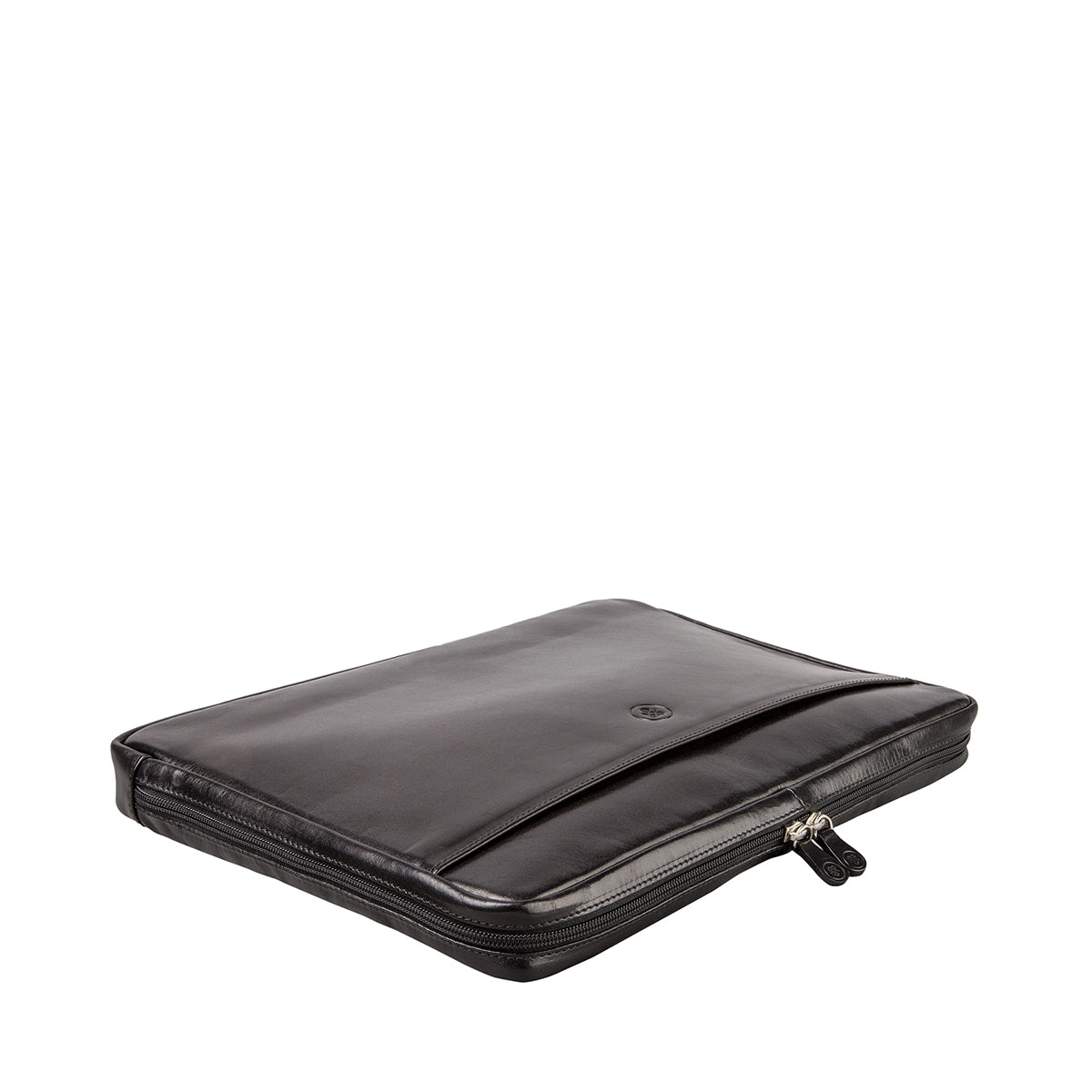 "Image 4 of the 'Verzino' Black Veg Tanned 15"" Leather Laptop Case"