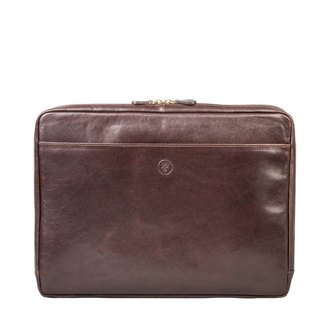 "Image 1 of the 'Verzino' Dark Chocolate Veg Tanned 15"" Leather Laptop Case"