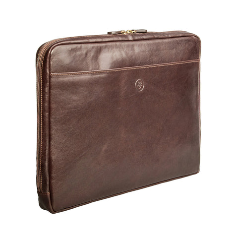 "Image 2 of the 'Verzino' Dark Chocolate Veg Tanned 15"" Leather Laptop Case"