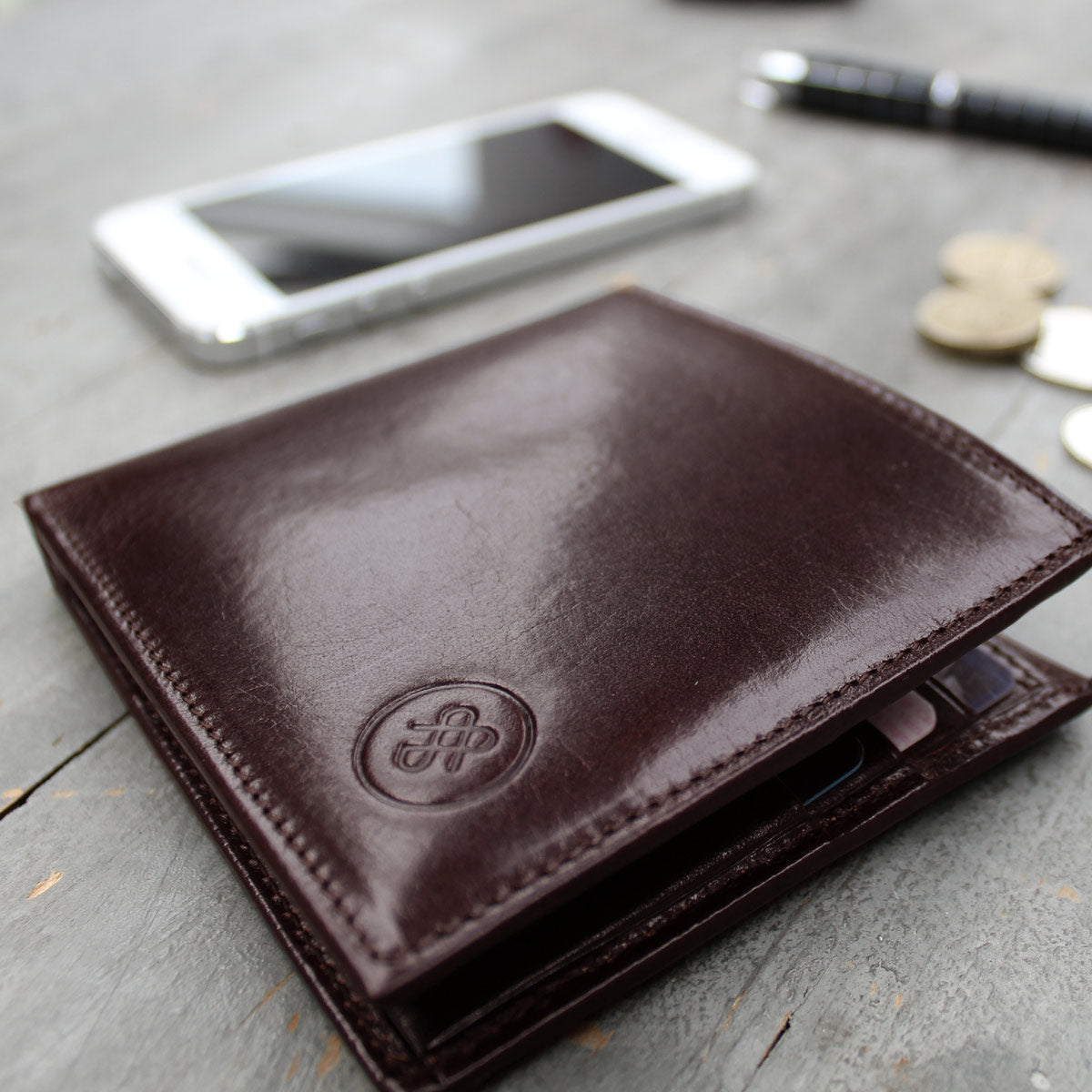 Image 7 of the 'Vittore' Dark Chocolate Veg-Tanned Leather Bi-Fold Wallet