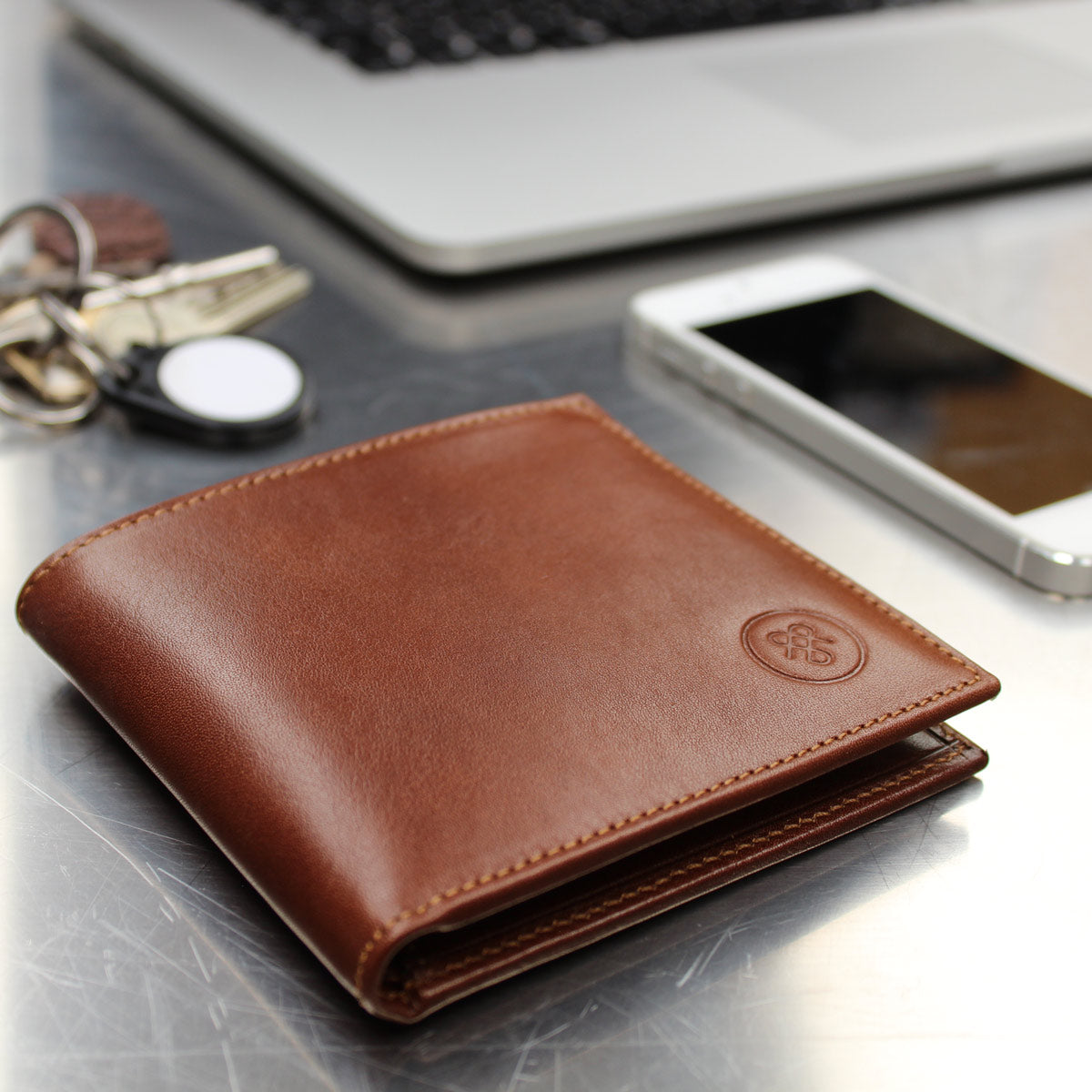 Image 7 of the 'Ticciano' Chestnut Veg-Tanned Leather Wallet with Coin Pocket