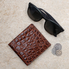 Image 6 of the 'Vittore' Mock Croc Chocolate Veg-Tanned Leather Bi-Fold Wallet