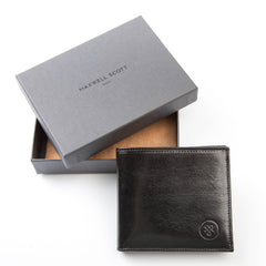 Image 6 of the 'Vittore' Black Veg-Tanned Leather Bi-Fold Wallet