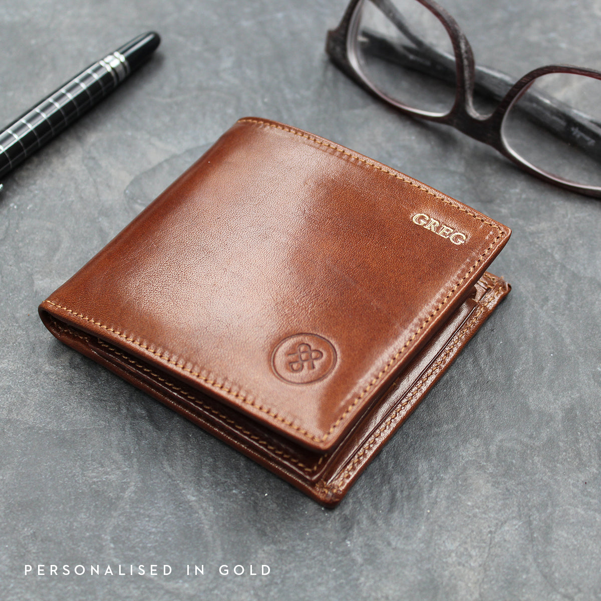 Image 8 of the 'Vittore' Dark Chocolate Veg-Tanned Leather Bi-Fold Wallet