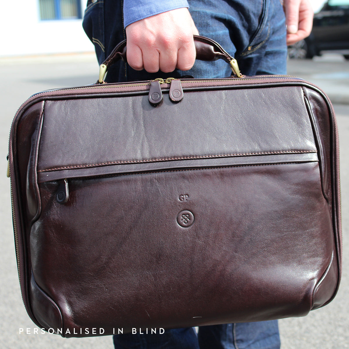 Image 7 of the 'Volterra' Brown Veg Tanned Leather Laptop Case