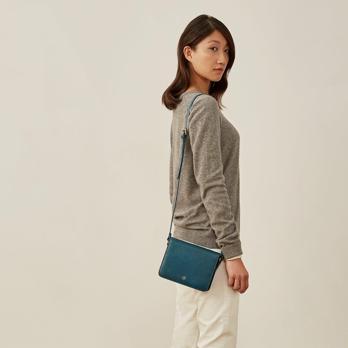 Image 8 of the Lucca' Petrol Leather Cross Body Bag