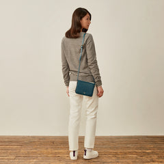 Image 7 of the Lucca' Petrol Leather Cross Body Bag