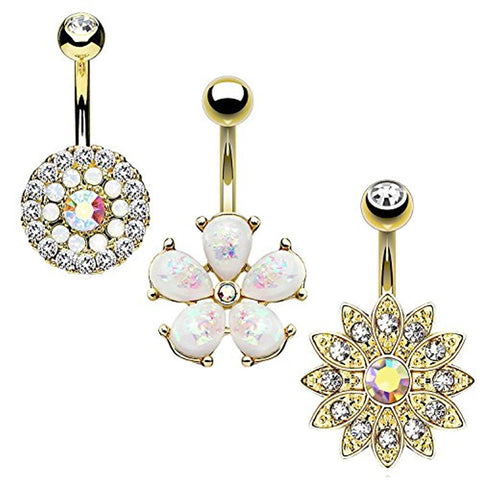 BodyJ4You 3PC Belly Button Ring Set Jeweled Created-Opal Floarl 14G Surgical Steel Curve Barbell Goldtone