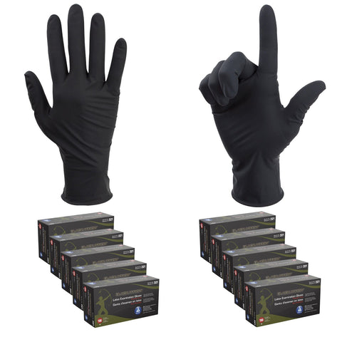 1000PC Black Arrow Latex Exam Gloves Powder Free Strong Disposable Medical Grade - BodyJ4you