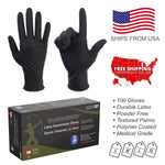 100PC Black Arrow Latex Exam Gloves Powder Free Strong Disposable Medical Grade - BodyJ4you