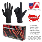 100PC Black Nitrile Exam Gloves Powder Strong Durable Disposable Medical Grade - BodyJ4you