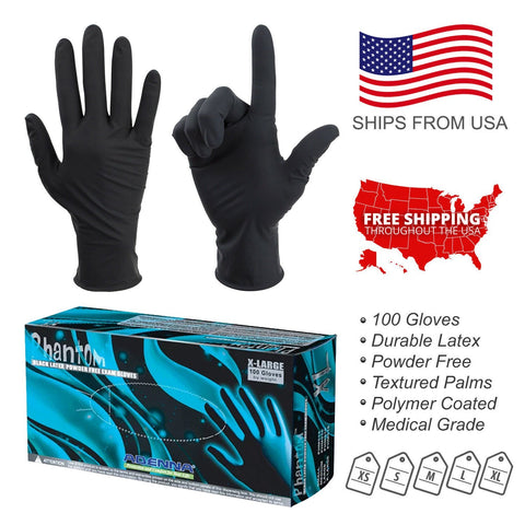 100PC Latex Exam Gloves Powder Free Size Extra Large Medium Small Strong Durable Disposable - BodyJ4you
