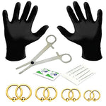 18PC PRO Piercing Kit Steel 16G Ball Closure Ring Septum Nipple Lip Ear Body Jewelry