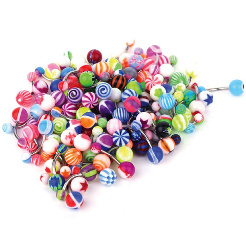 15-100PC Belly Button Rings Banana Barbells 14G Steel Flexible Bar Mix Color Body Jewelry - BodyJ4you